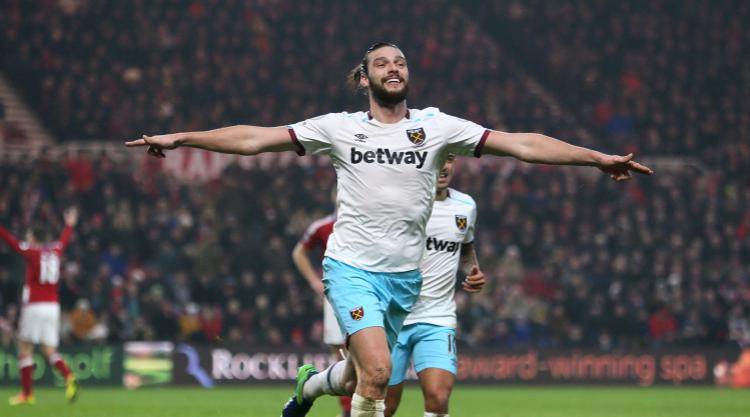 Andy Carroll double delight as West Ham win at Middlesbrough