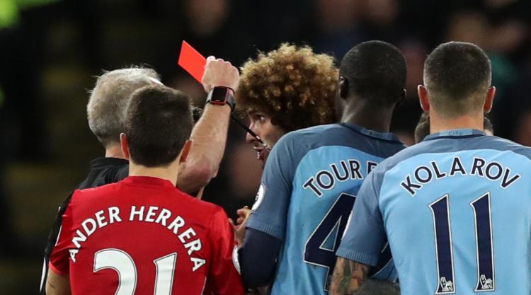 United boss Mourinho: Aguero was 'very smart' in Fellaini dismissal